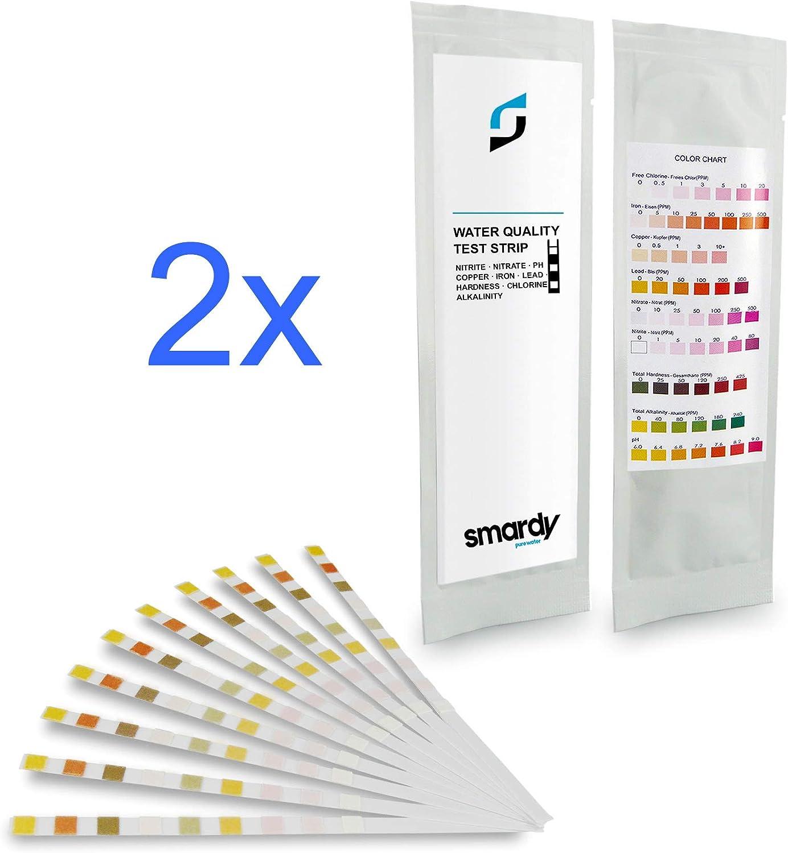 SMARDY 2X 10 Ultra de la Prueba del Agua 9 Pruebas ES 1 alcalinidad, nitrato, nitrito, dureza Total, PH, Plomo, Cobre, Hierro, Cloro Libre.