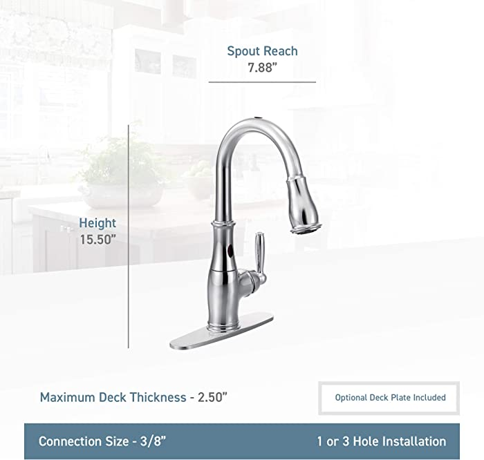 Moen 7185ESRS Brantford Motionsense Two-Sensor Touchless One-Handle High Arc Pulldown Kitchen Faucet
