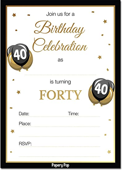 40th Birthday Invitations With Envelopes 30 Count