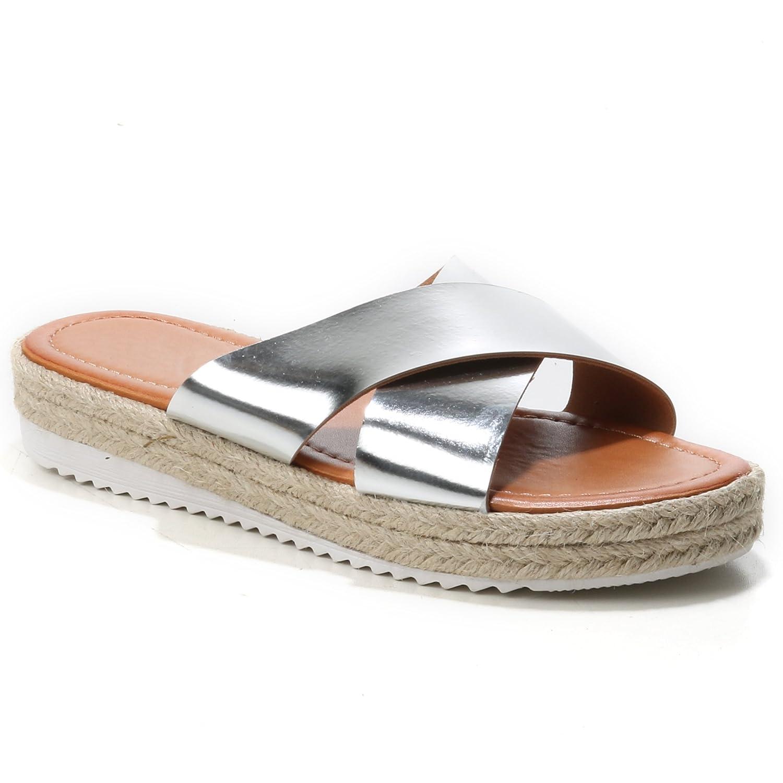 HERIXO Damen Schuhe Sandalen Slippers Pantoletten Espadrilles Überkreuzt  Metallic Bast 39 EU Silver - china-express-sn.de 69341fd5fc
