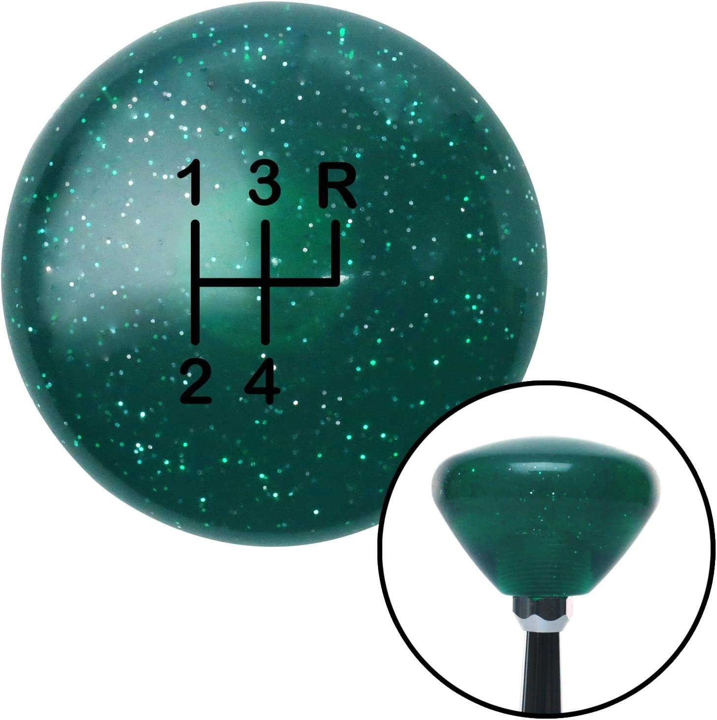 American Shifter 208891 Green Retro Metal Flake Shift Knob with M16 x 1.5 Insert Black Shift Pattern 7n