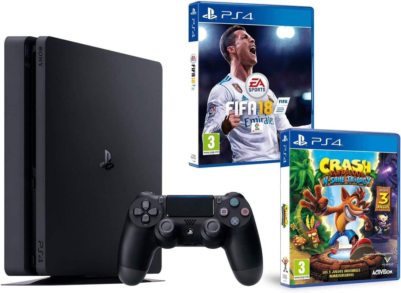 PS4 Slim 1Tb Negra Playstation 4 Consola - Pack 2 Juegos - FIFA 18 + Crash Bandicoot N.Sane Trilogy: Amazon.es: Videojuegos