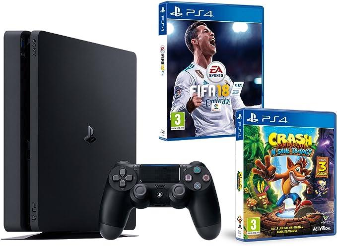 PS4 Slim 1Tb Negra Playstation 4 Consola - Pack 2 Juegos - FIFA 18 + Crash Bandicoot N.Sane Trilogy: Amazon.es: Videojuegos