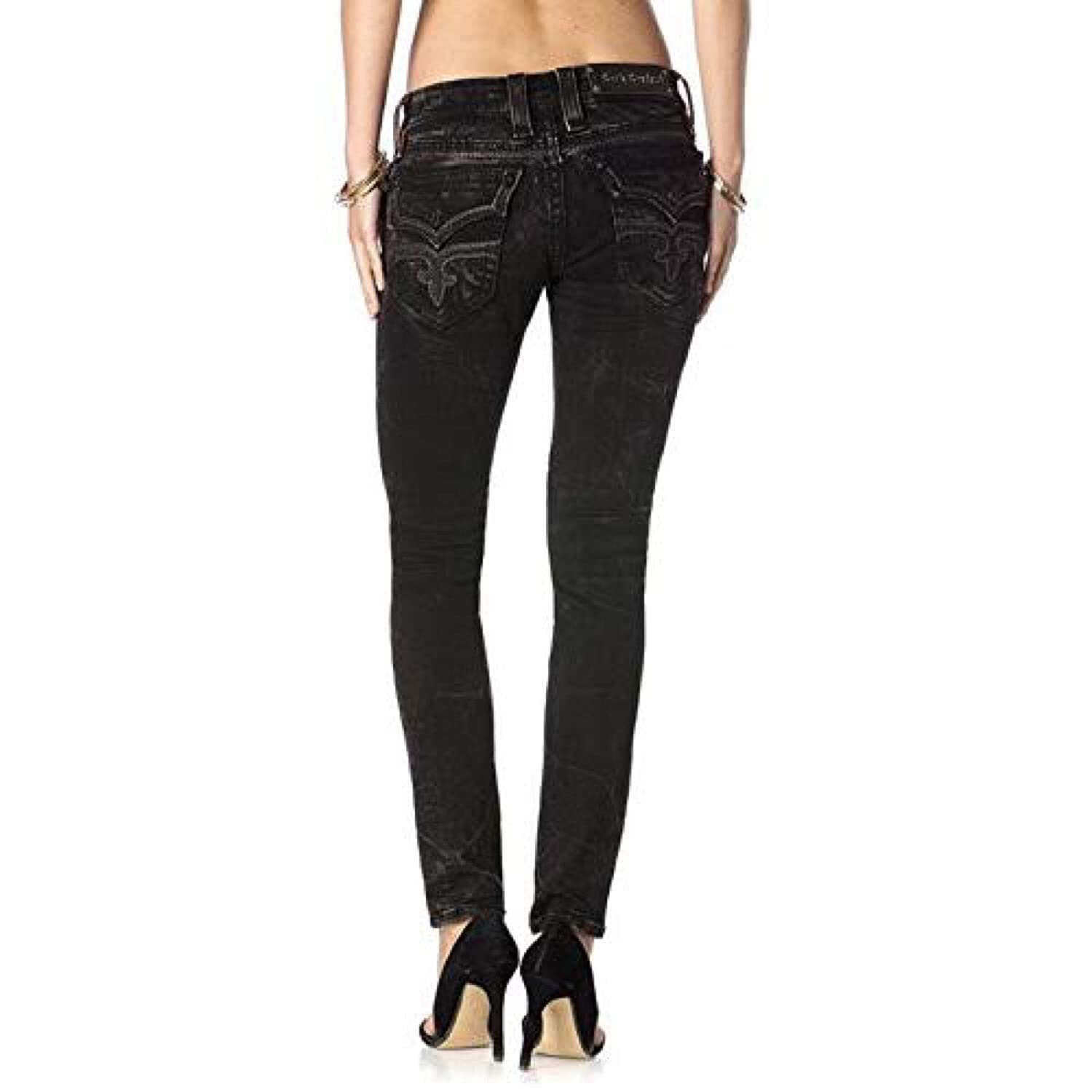 56270705c5 Rock Revival Anais S10 Skinny Distressed Black Crinkled Stretch Jeans (24)  at Amazon Women s Jeans store