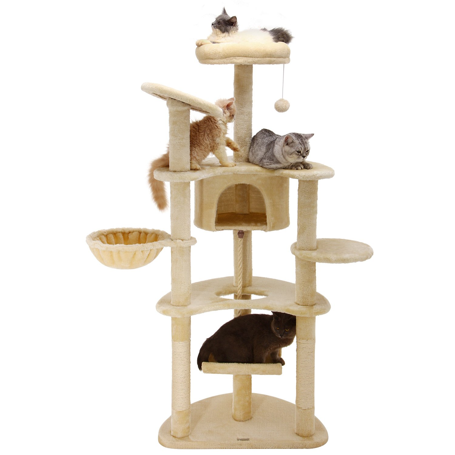 Ollieroo 60'' H Cat Tree Furniture Tower Climbling Activity Tree Scratcher Play House Condo Hammock with Scratching Post and Toys Beige