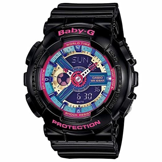 Casio BA112-1A Baby-G Multicolor Dial Black Resin Multi Quartz Womans Watch