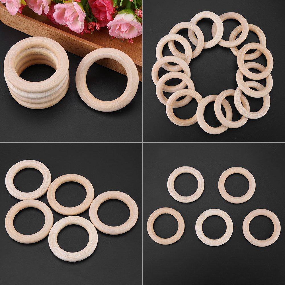 50pcs anelli rotondi in legno legno squisito cerchi artigianali per progetti fai da te creazione artigianale di gioielli