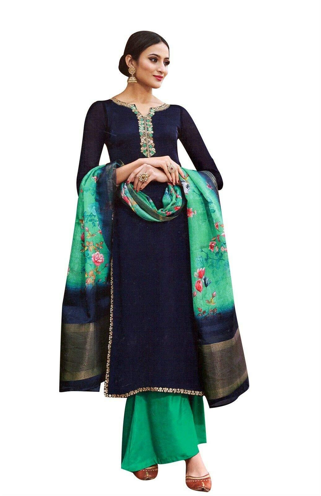Ladyline Partywear Maslina Silk Embroidered Salwar Kameez with Chiffon Silk Dupatta Wedding Indian Dress (Size_46/ Navy Blue)