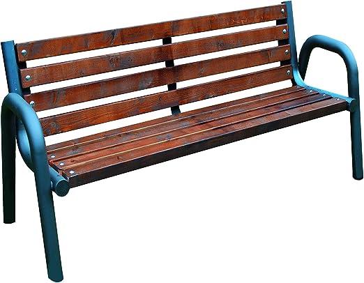 Primario Grande - Banco de jardín de madera y metal, resistente a la intemperie, para jardín o balcón: Amazon.es: Jardín