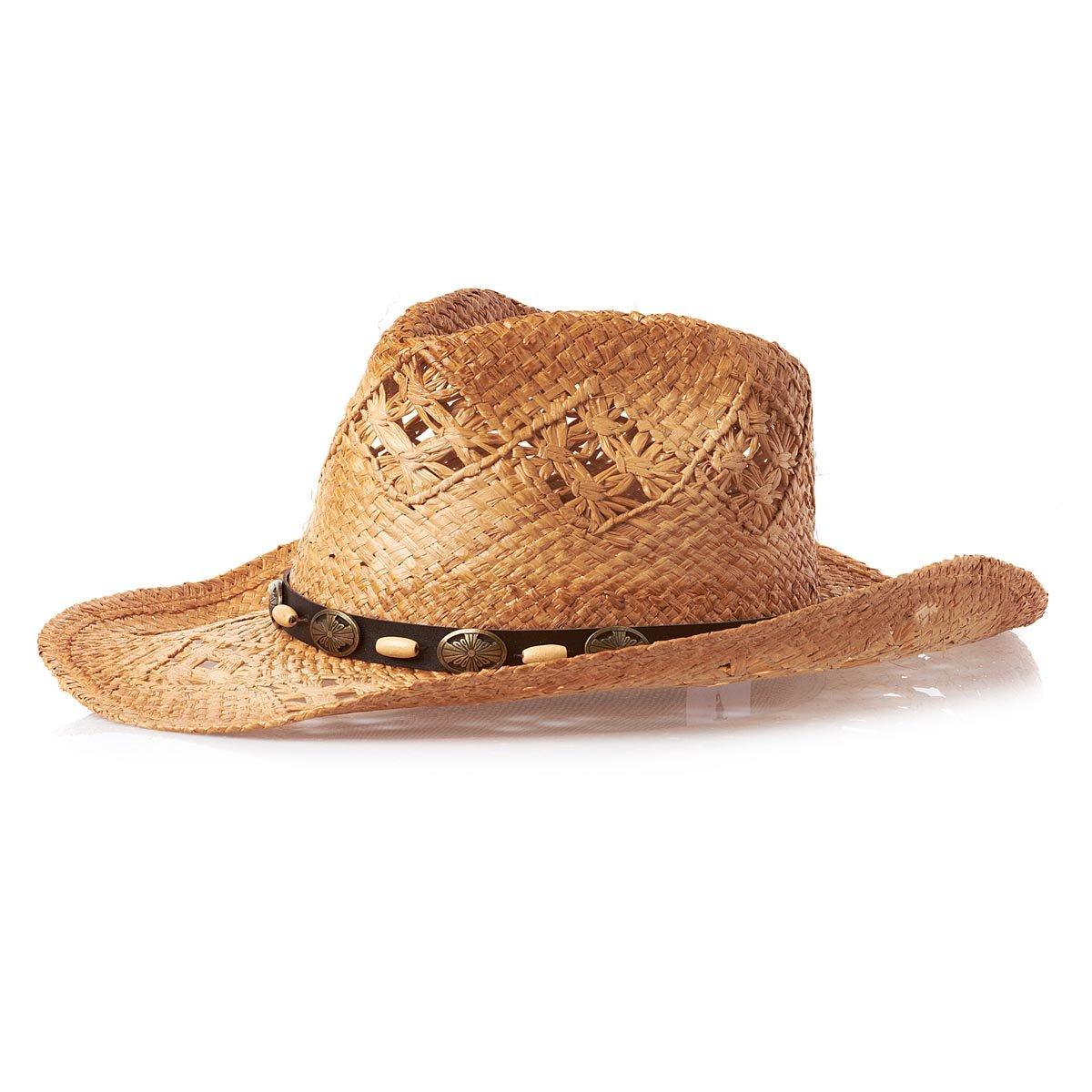 sur la tête Annie Oakley Raffia Cowboy Hat