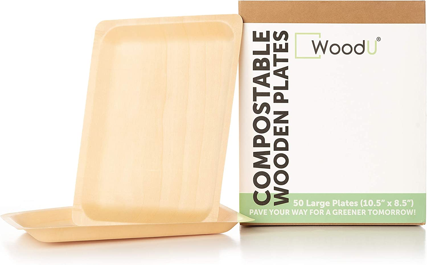 Eco Friendly All Natural Premium quality 100% Compostable & Biodegradable Birch Wood Disposable Plates for Parties, wedding, Events (10.5
