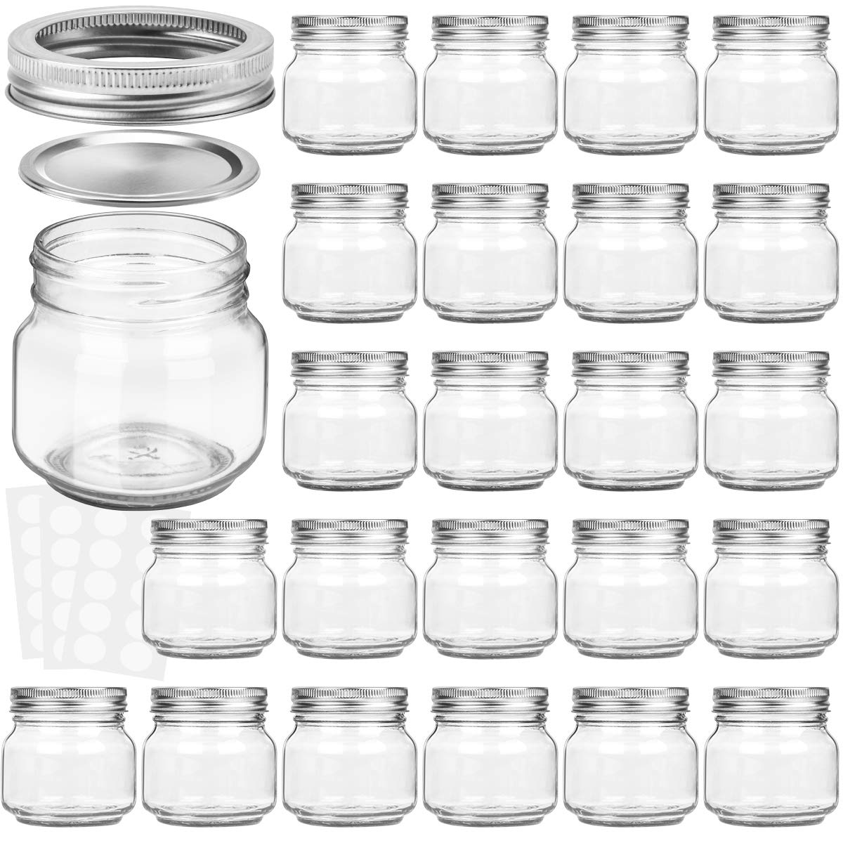 KAMOTA Mason Jars 8OZ With Regular Silver Lids and Bands, Ideal for Jam, Honey, Wedding Favors, Shower Favors, Baby Foods, DIY Magnetic Spice Jars, 24 PACK, 30 Whiteboard Labels Included by KAMOTA