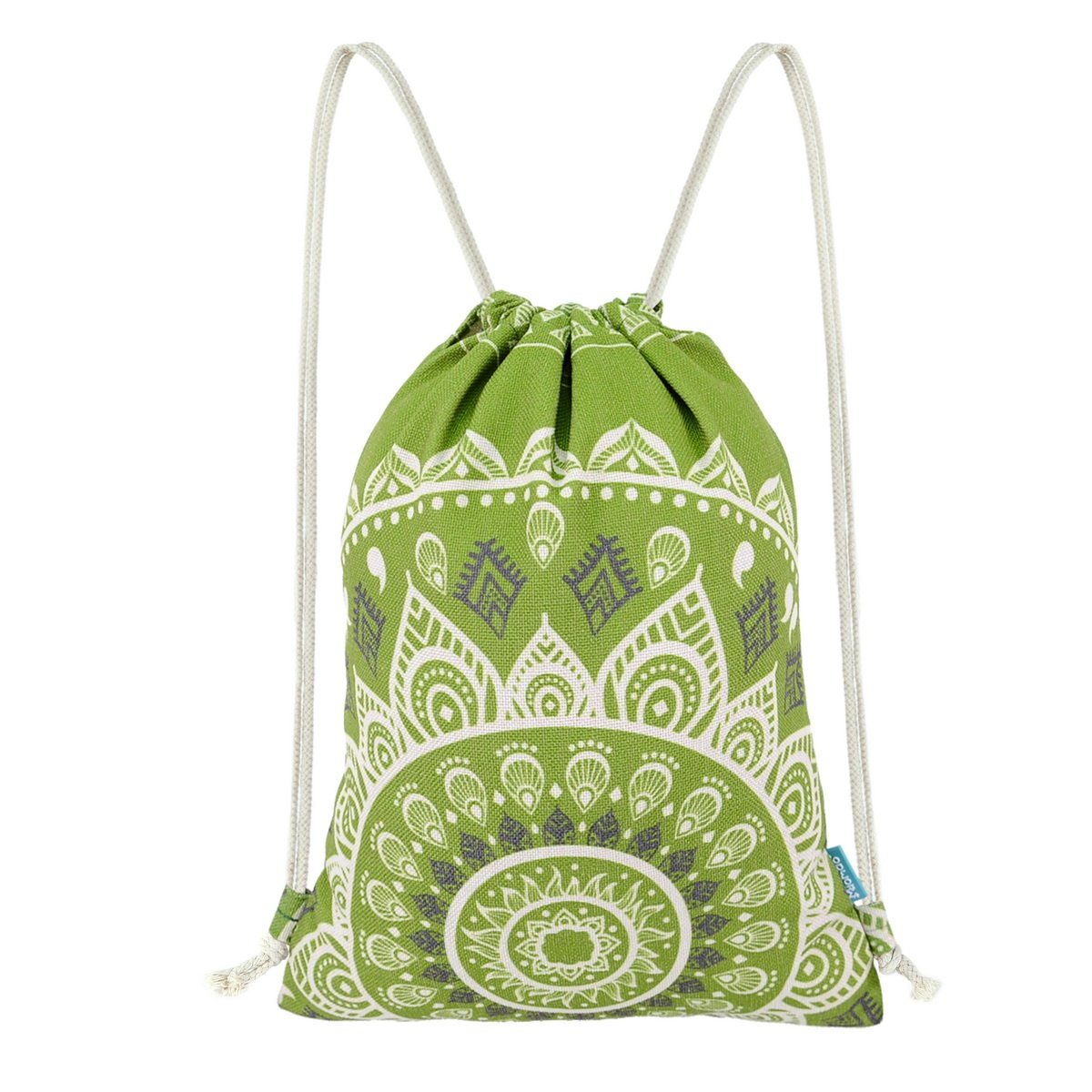 Miomao Drawstring Backpack Gym Sack Pack Mandala Style String Bag With Pocket Canvas Sinch Sack Sport Cinch Pack Christmas Gift Bags Beach Rucksack 13 X 18 Inches Olive Green