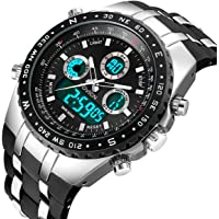 Mens Analogue Digital Sports Watch Men Military Big Face Waterproof Electric Digital Watch Stopwatch Army Shock Resistant Casual Wrist Watches for Man
