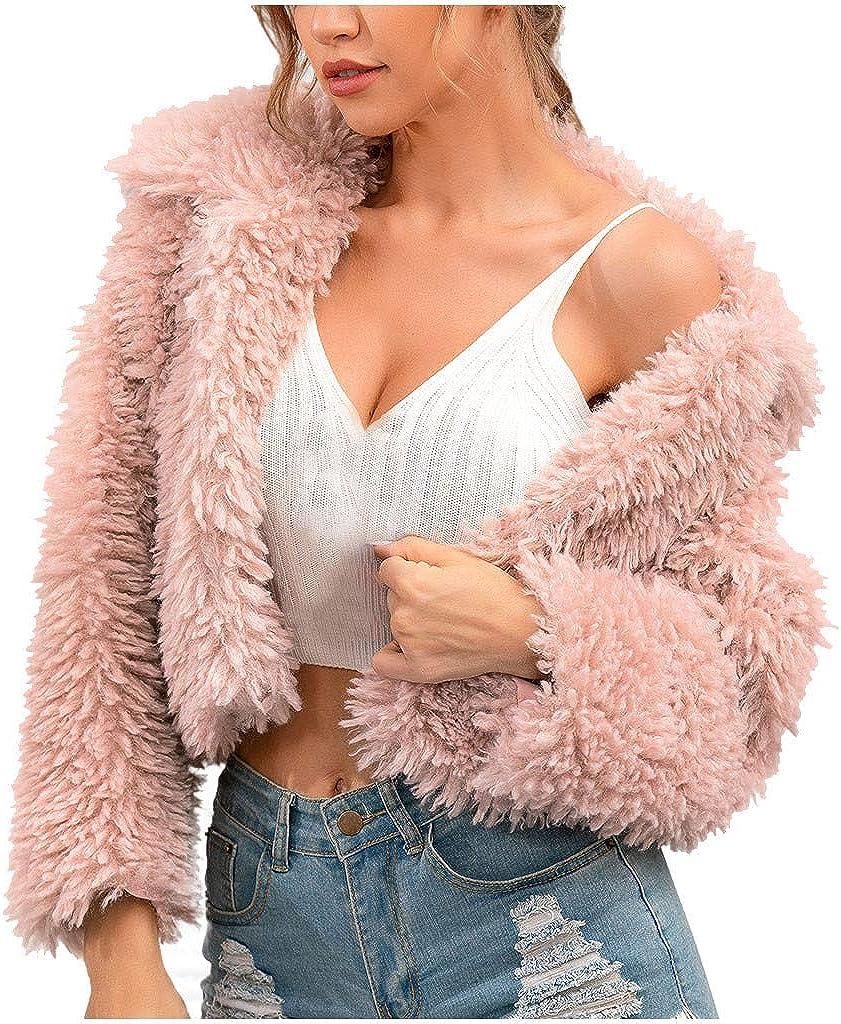 Womens Fluffy Warm Fleece Fur Jacket Outerwear Tops Lapel Jacket Coat Plus New
