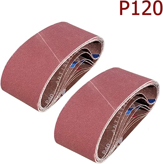 ALEKO 4-Inch x 24-Inch 120 Grit Aluminum Oxide Sanding Belt Pack Of 10
