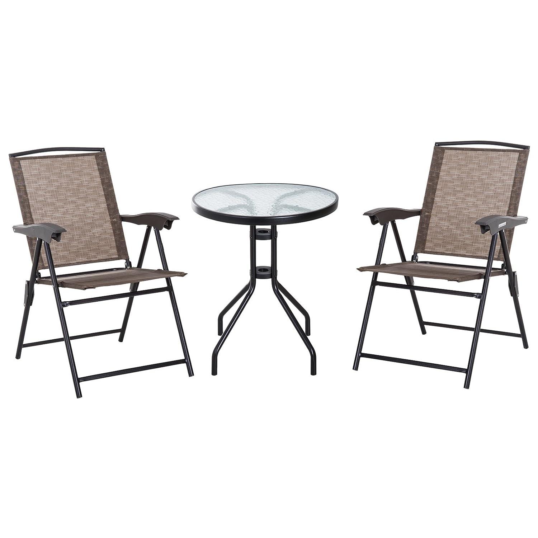Outsunny Tavolino con 2 Sedie Set Mobili 3pz Pieghevole Regolabile Esterno Textilene Marrone Aosom Italy