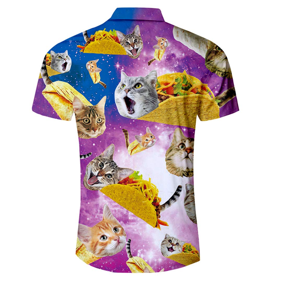 Mens Shirt Funny Galaxy Space Cat Kitten 3D Print Hawaiian Shirt Slim Fit Short Sleeve Shirts Summer Clothes