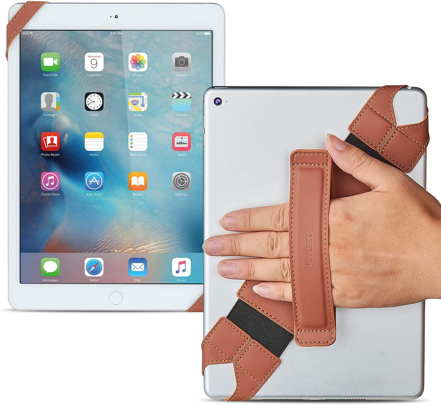 Universal Tablet Hand Strap Holder, Joylink 360 Degrees Swivel Leather Handle Grip with Elastic Belt, Secure & Portable for 10.1 Inch Tablets (Samsung Asus Acer Google iPad), Brown