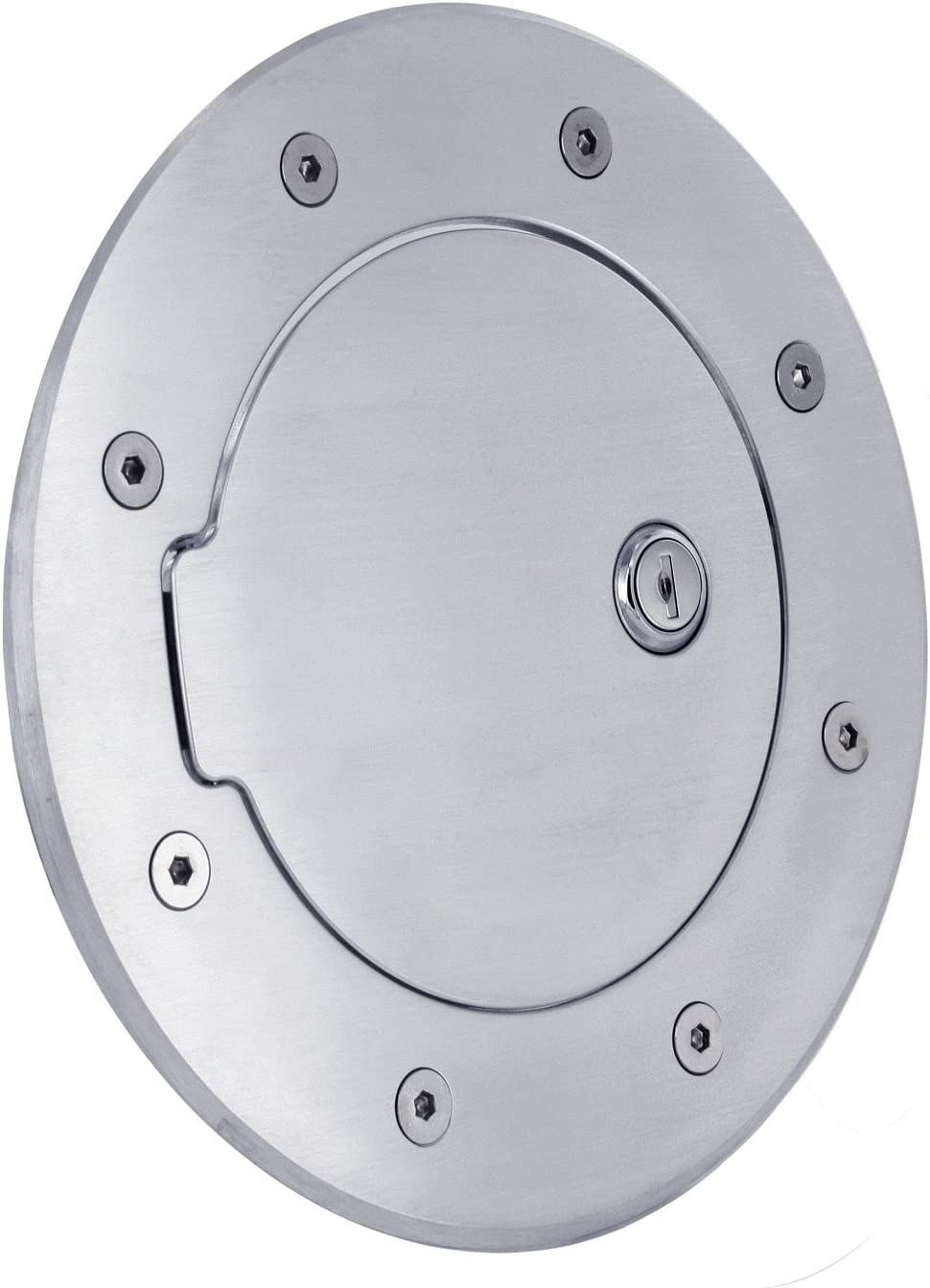 All Sales 6092PL Polished Billet Aluminum Locking Fuel Door