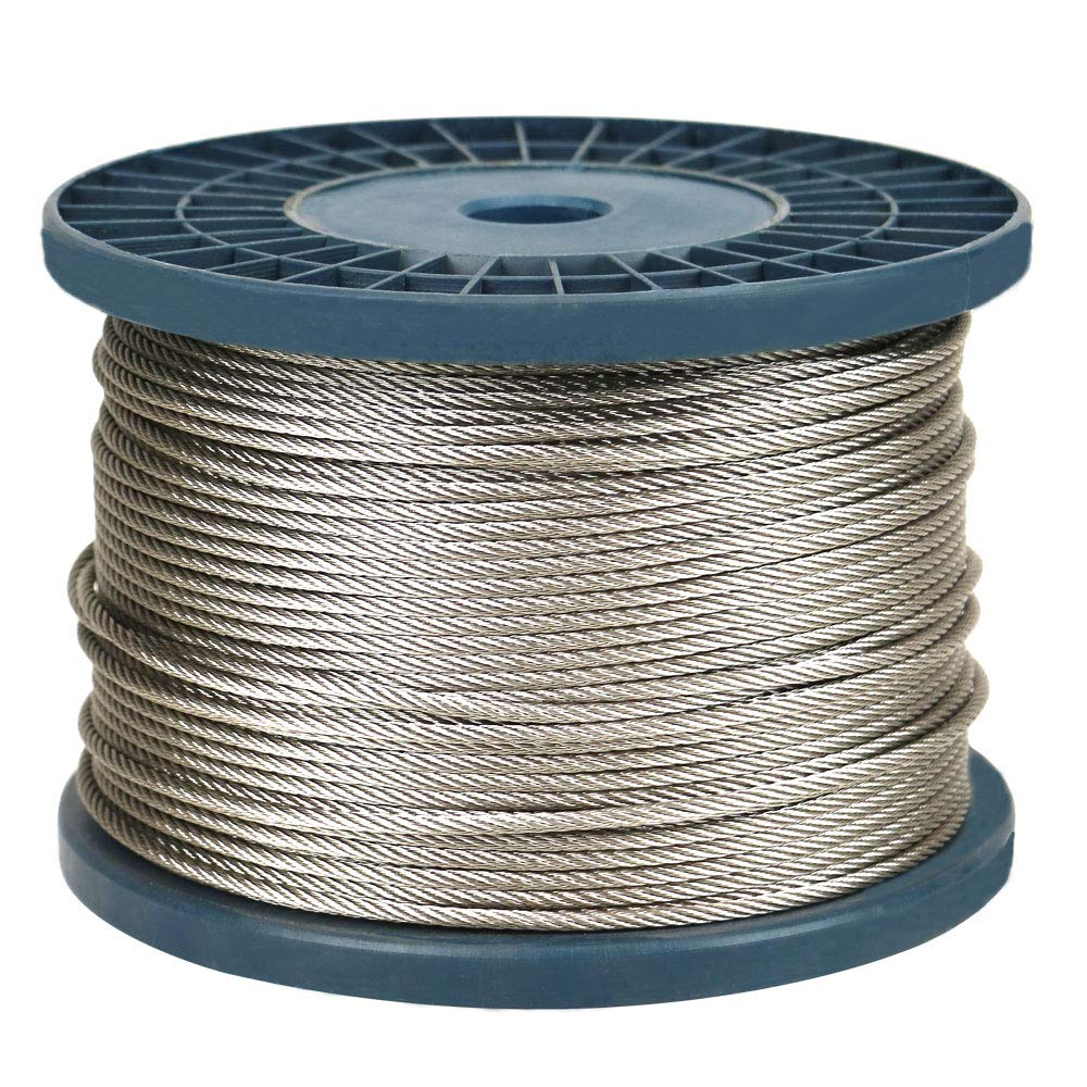 IZOKIN 1 8 316 Stainless Steel Wire Rope Aircraft Cable for Deck Cable Railing Kit DIY Balustrade Handrail Cable 7x7 450ft