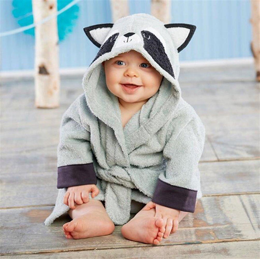 DDOQ Warm Children Kid Boy Girl Cotton Raccoon Shape Hooded Cartoon Bathrobe Blanket Beach Bath Towel (Color : Grey)