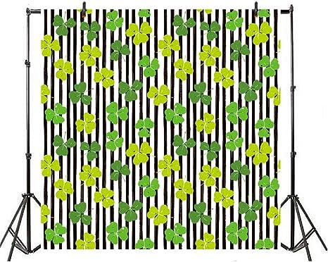 Patricks Day Lucky Irish Shamrock Green Four-Leaf Clover River Bokeh Shabby Stripe Wood Plank Spring Green Wooden Background Portraits 5x5ft Vinyl Photography Backdrop Happy St