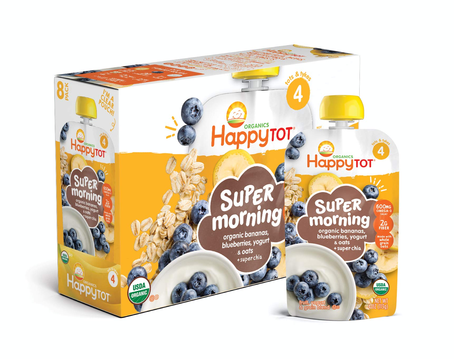 Happy Tot Organic Stage 4 Super Morning Organic Bananas Blueberries Yogurt & Oats + Super Chia, 4 Ounce Pouch (Pack of 8) (Packaging May Vary) by Happy Baby