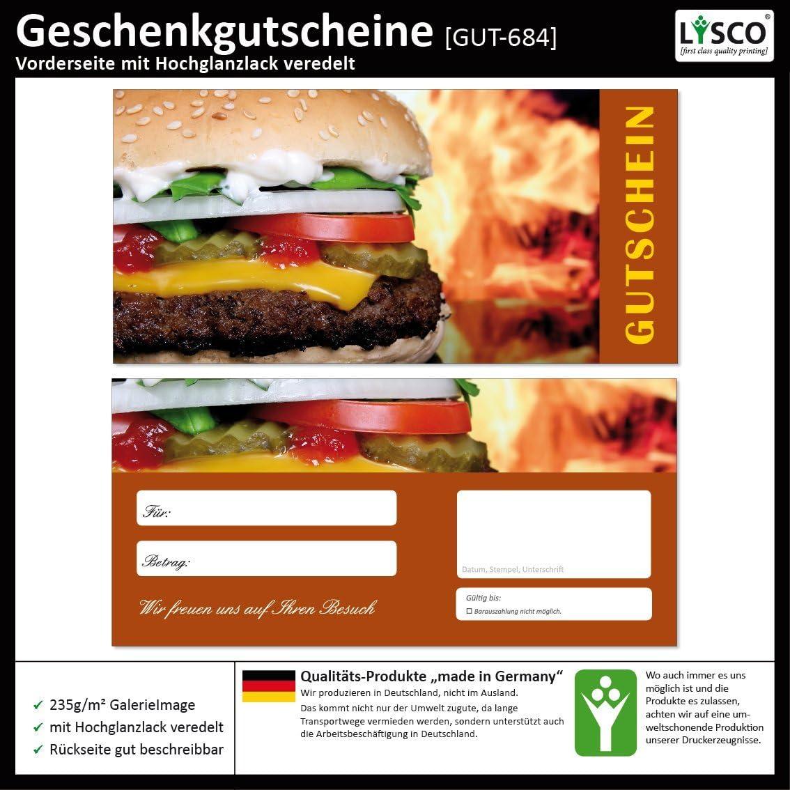 Gutscheine Gutscheinkarten f/ür Gastronomie Bereiche wie Restaurant Gastst/ätte Lieferdienst 100 St/ück Geschenkgutscheine Hamburger-684