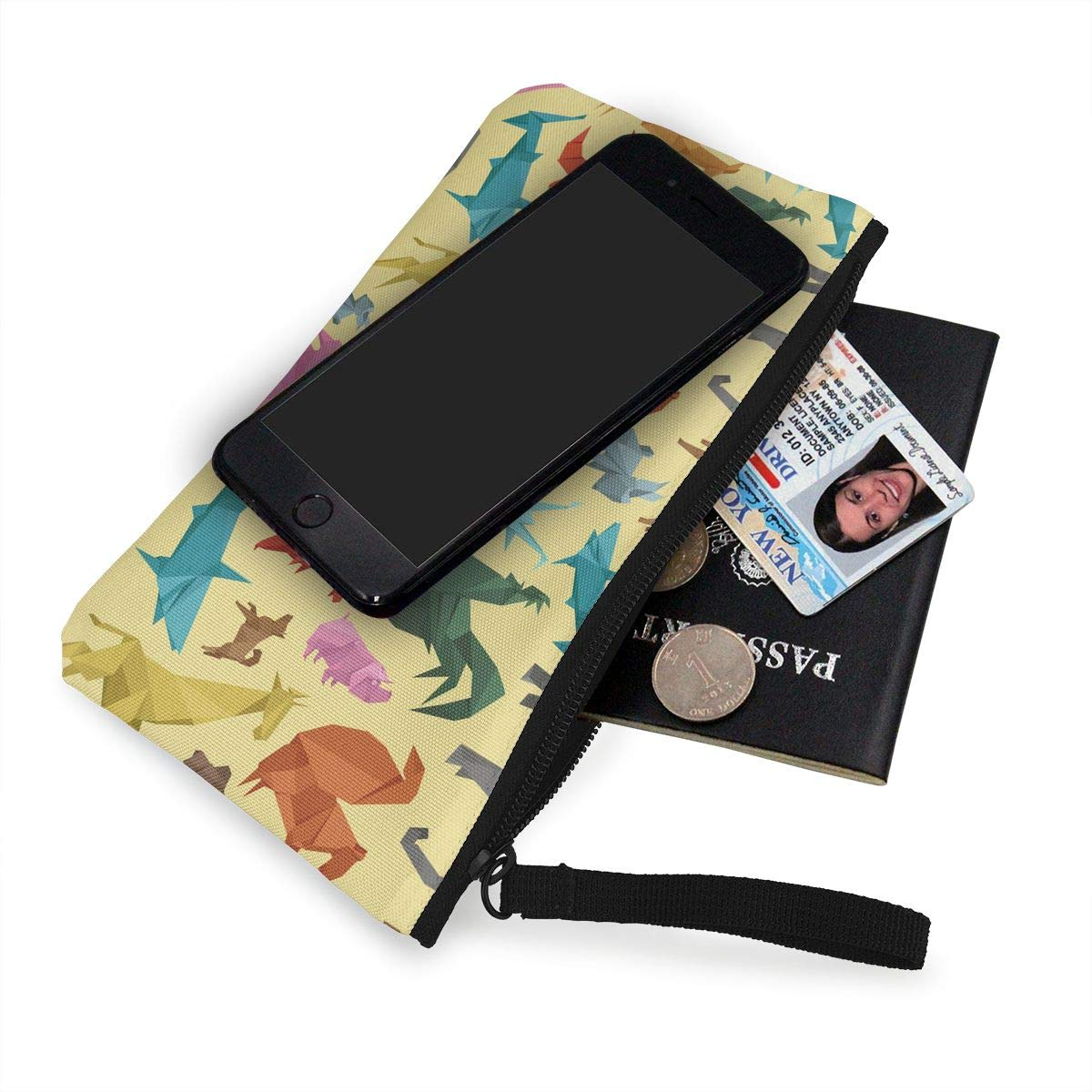 Origami Wild Animals Pattern Canvas Change Coin Purse Small Cute Money Bag With Zip
