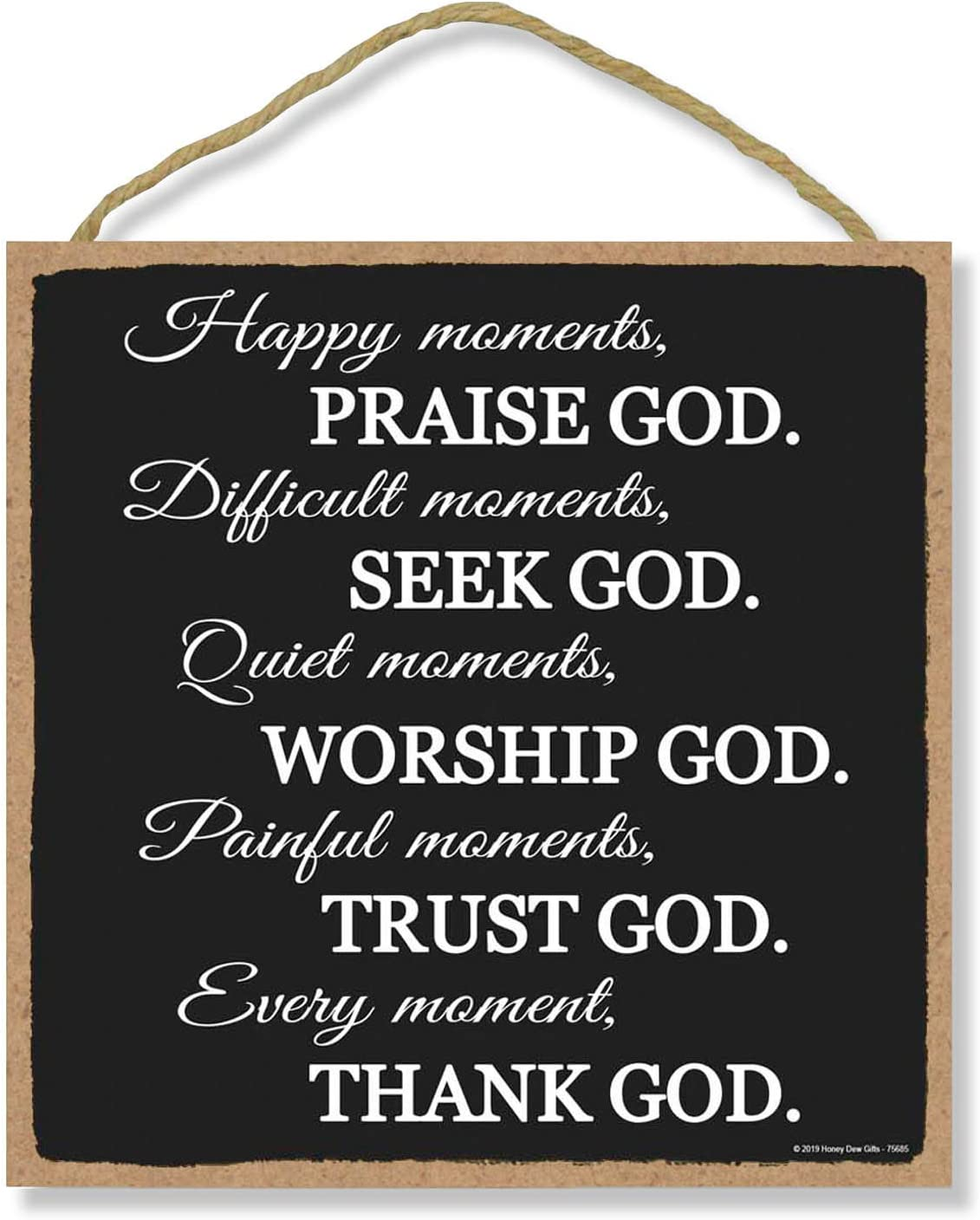 Honey Dew Gifts Christian Wall Decor, Praise, Seek, Worship, Trust, Thank God 10 inch by 10 inch Hanging Wood Sign, Home Decorations