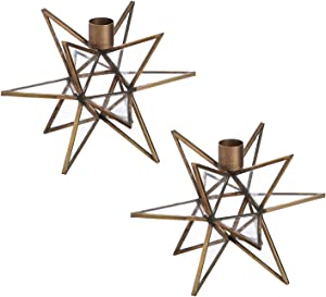 Cypress Home Brass Moravian Star Metal Taper Candle Holders, Set of 2