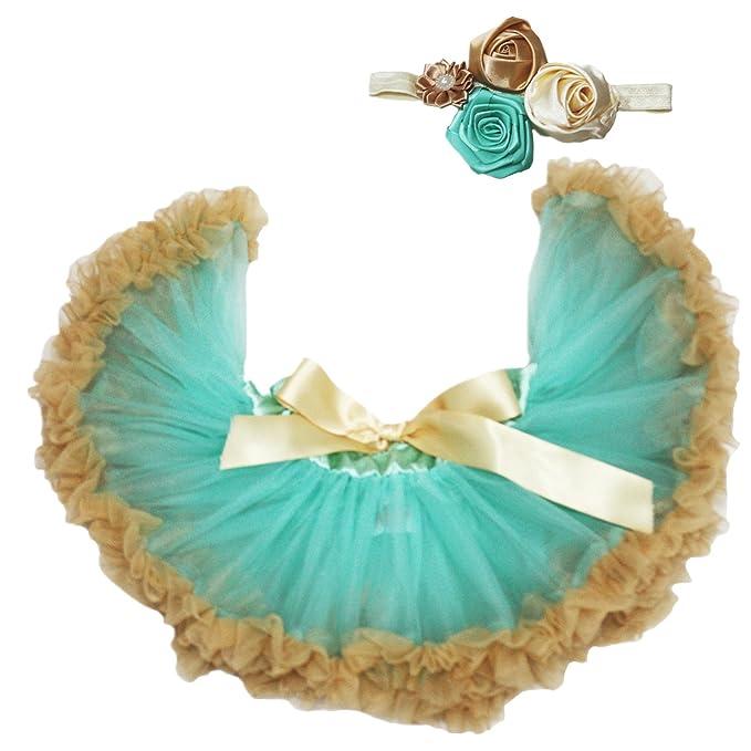 Petitebelle Aqua azul dorado tutú para niña bebé vestido con diadema Set 3 – 12 M