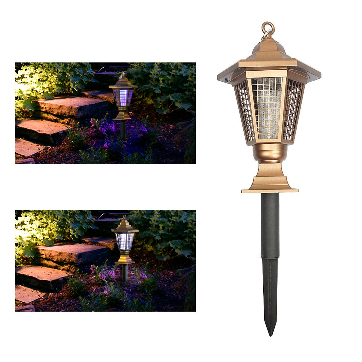 Solar Bug Zapper, Wrcibo Electronic Insect Killer Outdoor Solar Mosquito Zapper Light Fly Trap and Decorative Garden Light