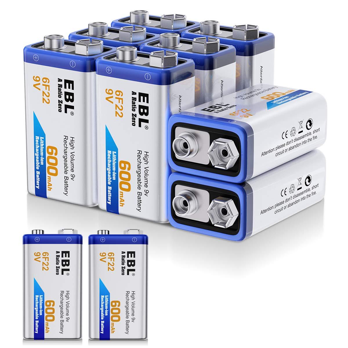 EBL 600mAh 9 Volt Li-ion Rechargeable 9V Batteries Lithium-ion, 10 Pack by EBL