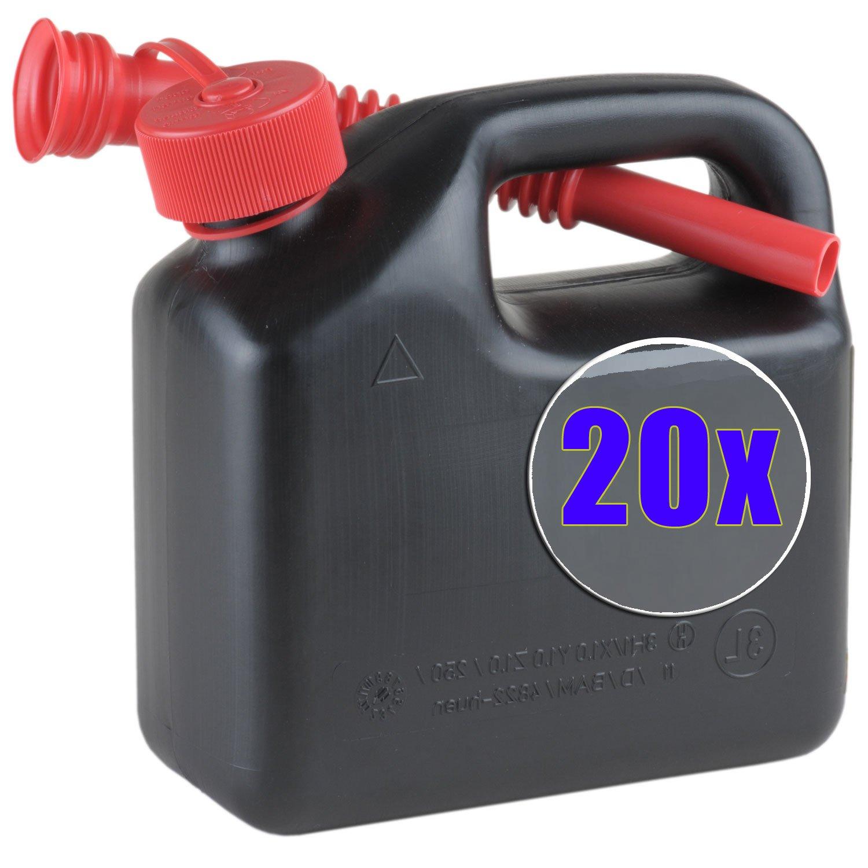 20x Kraftstoff-Kanister 3 Liter schwarz 20er Set Reserve-/ Motorradkanister Benzinkanister NEU
