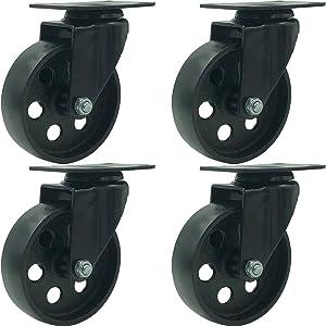 """FactorDuty 4 All Black Metal Swivel Plate Caster Wheels Heavy Duty High-Gauge Steel (4"""" No Brake)"""