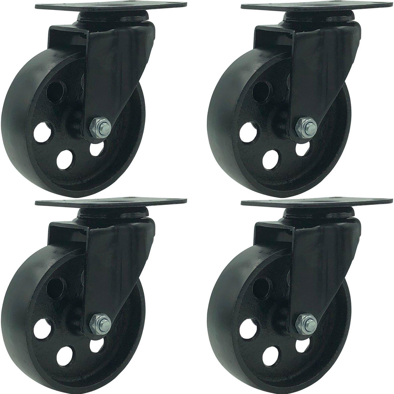 FactorDuty 4 All Black Metal Swivel Plate Caster Wheels Heavy Duty High-Gauge Steel (4'' No Brake)