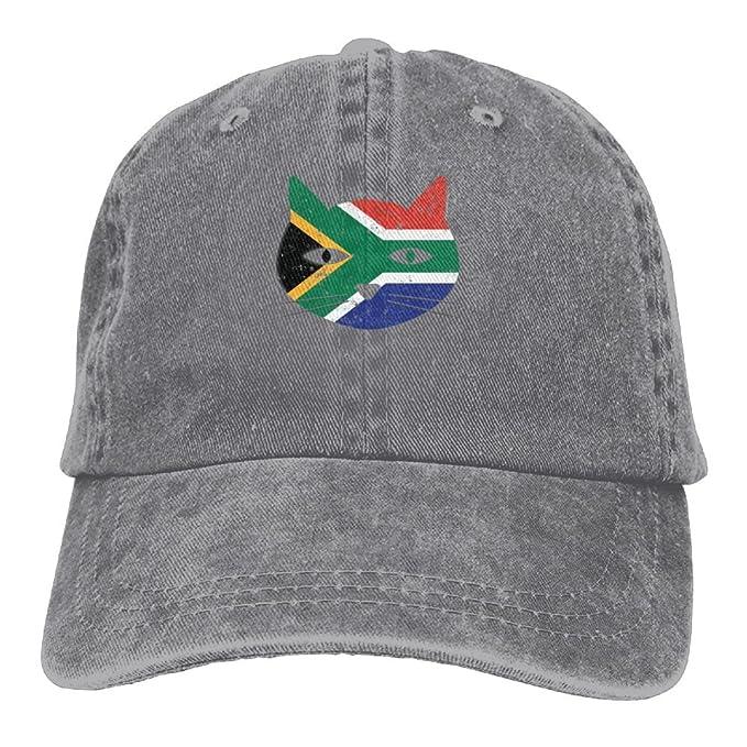 South Africa Cat Flag Denim Hat Adjustable Unisex Dad Baseball Hats ... e011116b724