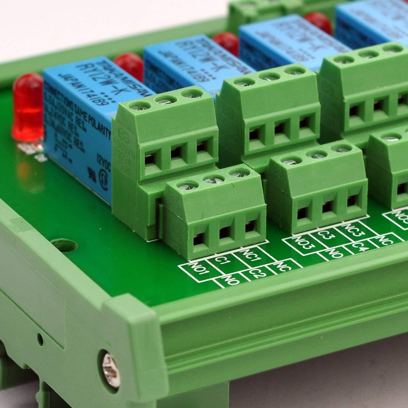 DC12V versi/ón. ELECTRONICS-SALON montaje en carril DIN 8 DPDT de rel/é del m/ódulo de interfaz