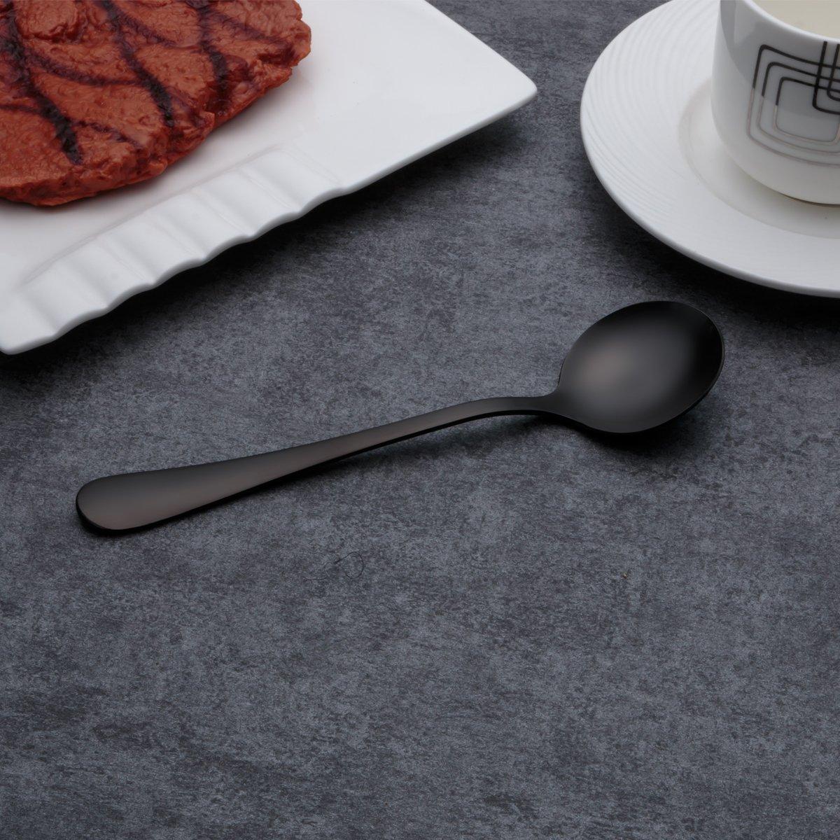 Berglander Cucharas de sopa de acero inoxidable chapadas en titanio negro, cuchara de sopa de color negro, cucharas redondas de acero inoxidable, ...
