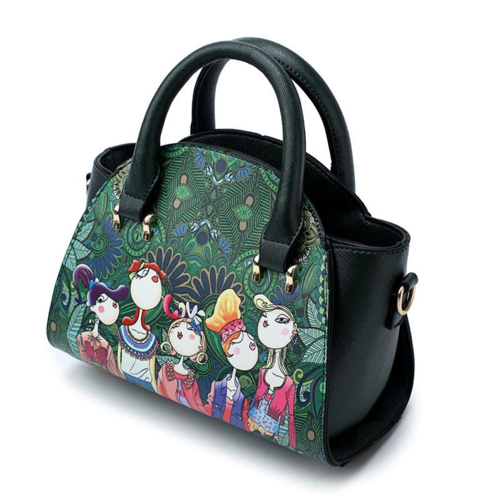 SanCanSn Crossbody Bags, Women Forest Girls Pattern Printing Single Shoulder Bag Handle Zipper Handbag (1PC, Green) by SanCanSn (Image #3)