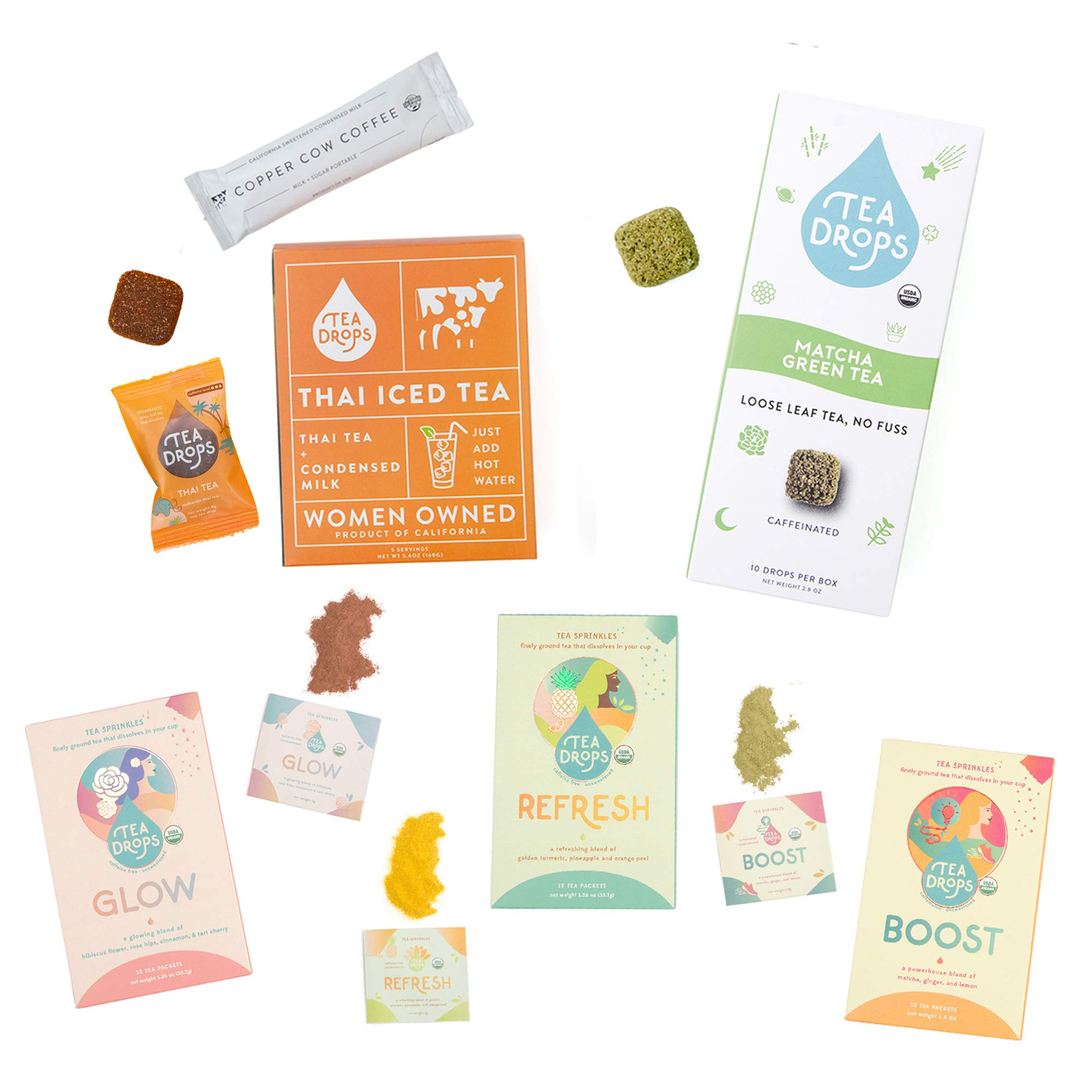 Organic Loose Leaf Tea Bundle | Ice Tea Bundle Includes 5 Thai Tea, 10 Matcha Green Tea, 12 Glow Sprinkles, 12 Refresh Sprinkles & 12 Boost Sprinkles | Delicious Hot or Iced | 51 Servings By Tea Drops by Tea Drops