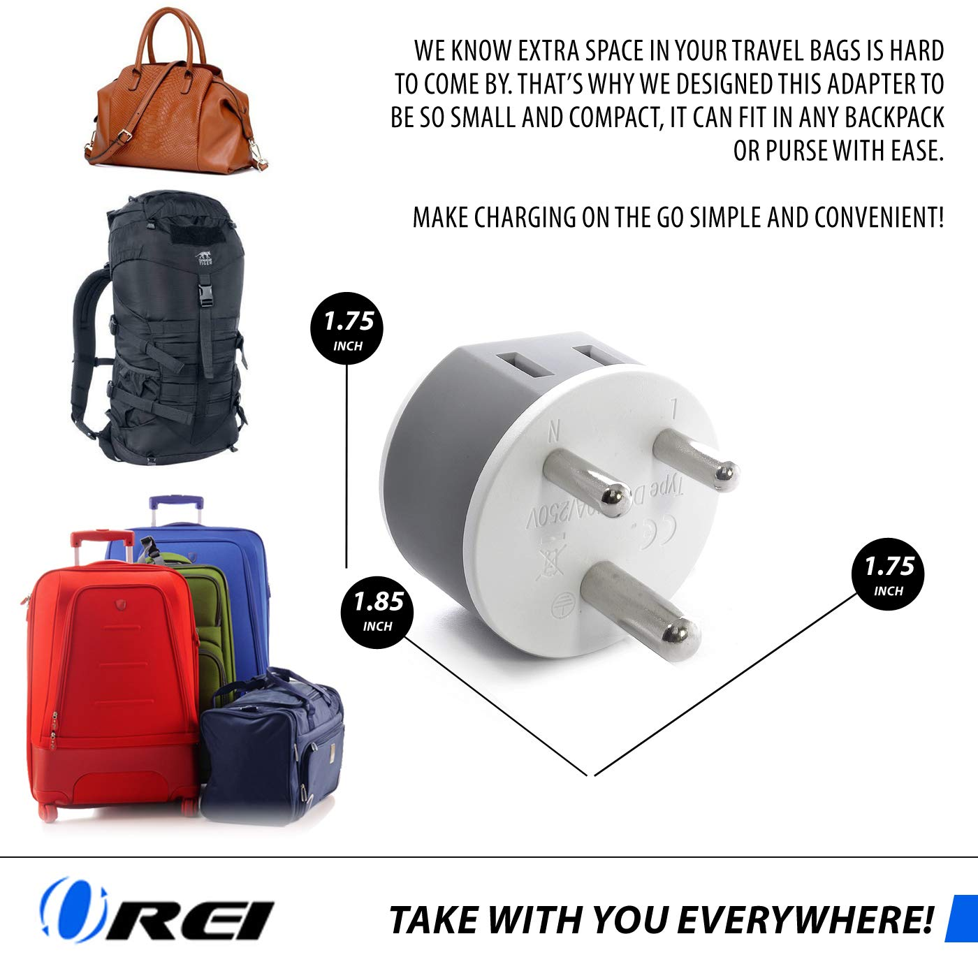 CPAP and More Type L US-12A Uruguay Power Plug Adapter by OREI with 2 USA Inputs Laptop Camera Chargers Travel 3 Pack ,Safe Grounded Use with Cell Phones Italy