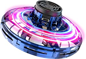 FlyNova Flying Toy - Shinning LED Lights Hand Controlled UFO Flying Drone for Kids and Adults - 360° Rotating and Drop-Proof Mini Flying Boomerang (Blue)