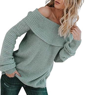 Hanomes Damen pullover, Damen Langarm Off The Shoulder Pullover Pullover  Übergroße Strickpullover 1498cccf77