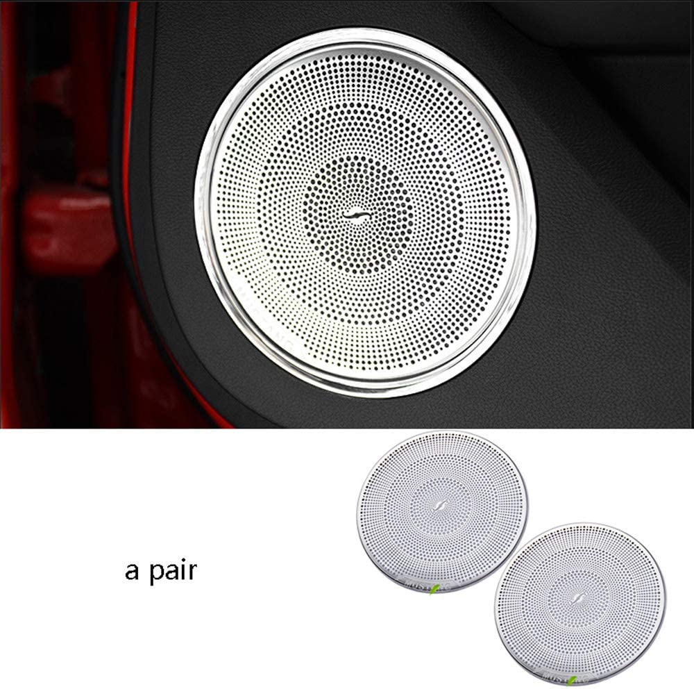 Car Interior Door speaker Decor Trim For Ford Mustang 2015-2019 Stainless steel 2pcs,small