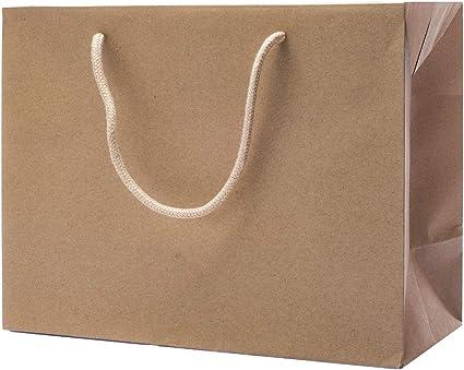 EUROFIDES® 50 Bolsa de papel Kraft forma caja Habana cm. 20 + 9x13 ...