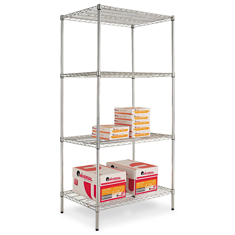 Wire Shelving Starter Kit, 4 Shelves, 36w x 24d x 72h, Silver