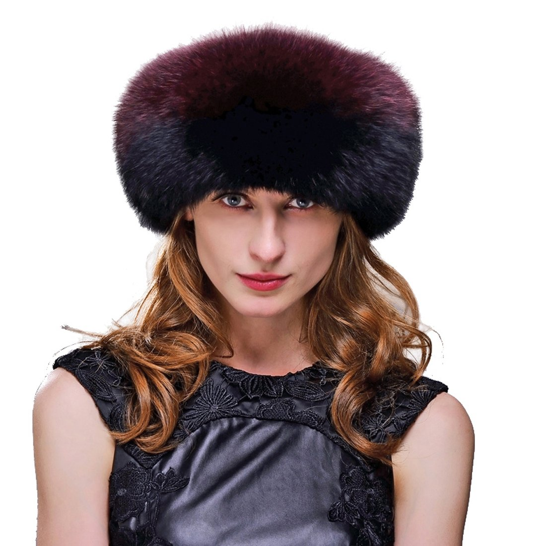 URSFUR Fox Fur Roller Hat with Leather Top and Tails (One Size Fits All, Black & Red) by URSFUR (Image #1)